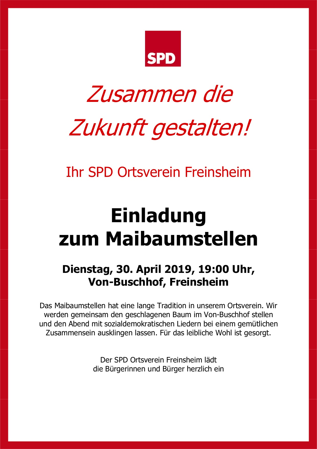 Flyer Maibaumstellen